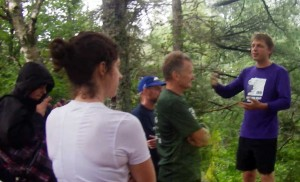 Tristan Cleveland talks to hikers & runners before setting out Wed Aug 15